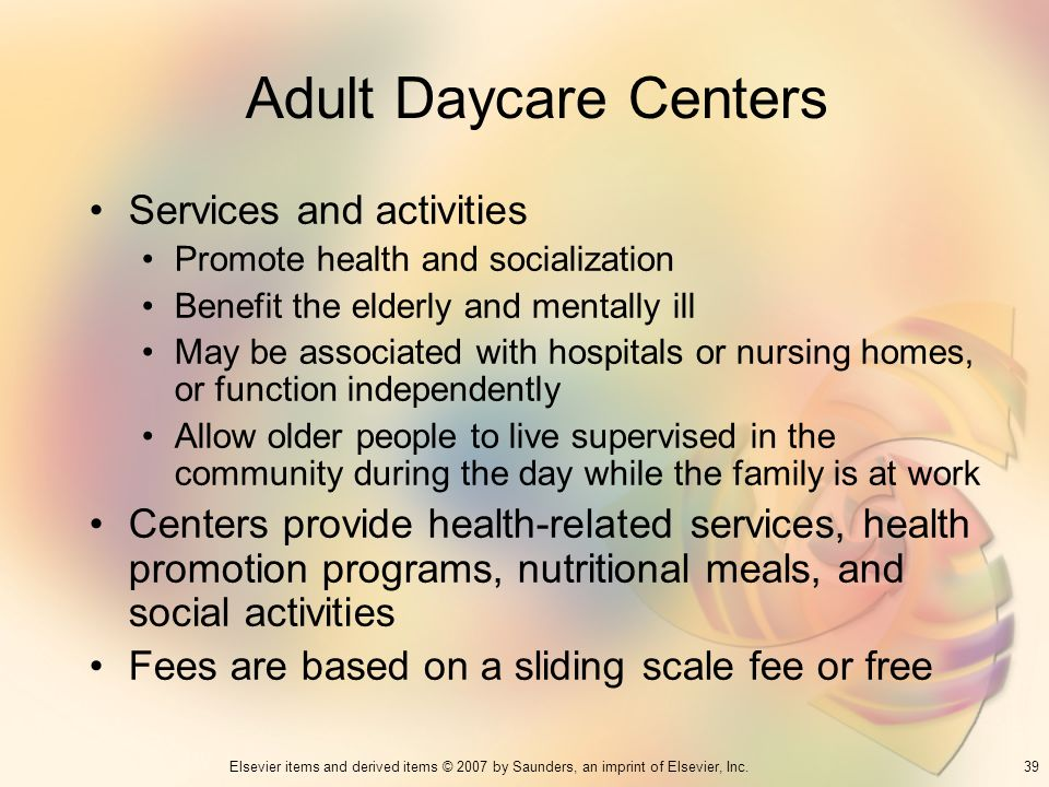 Adult Daycare Centers Services and activities