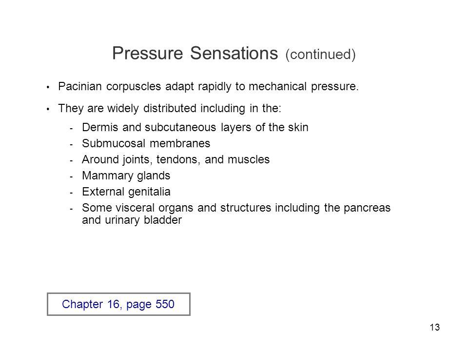 Pressure Sensations (continued)