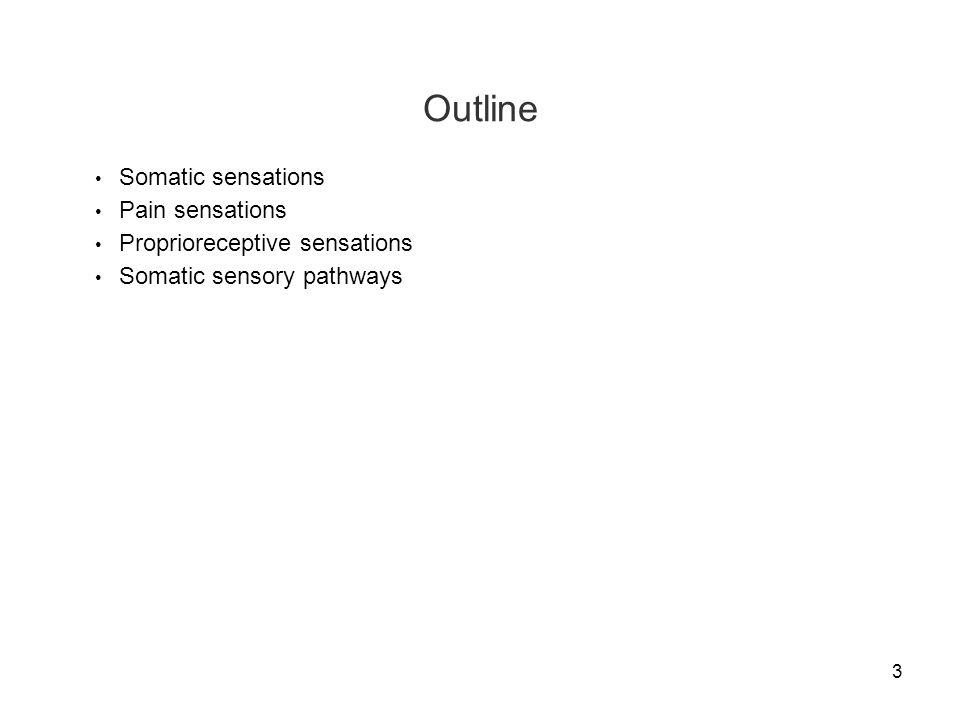 Outline Somatic sensations Pain sensations Proprioreceptive sensations