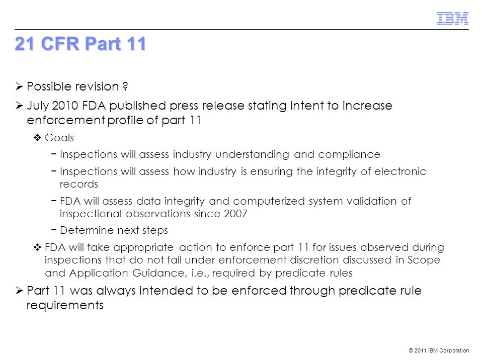 21 CFR Part 11 Possible revision