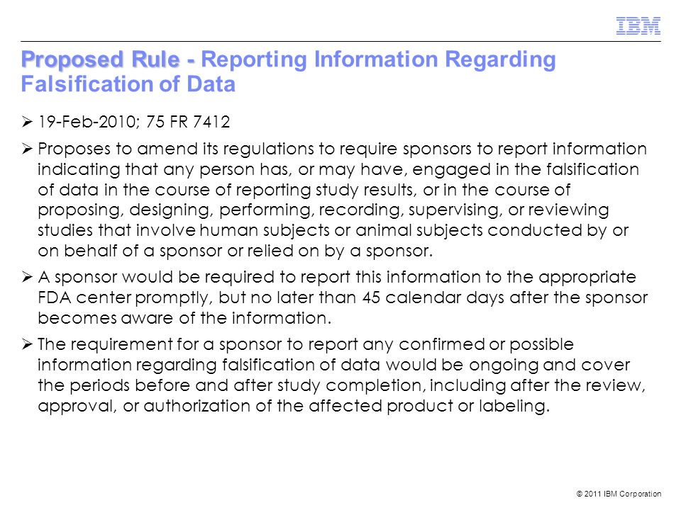 Proposed Rule - Reporting Information Regarding Falsification of Data