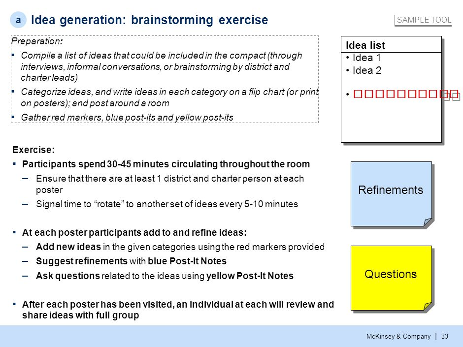Idea generation: list of collaboration ideas