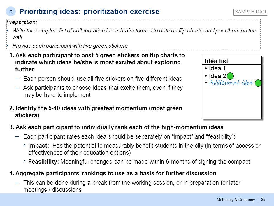 Prioritizing ideas: participant worksheet