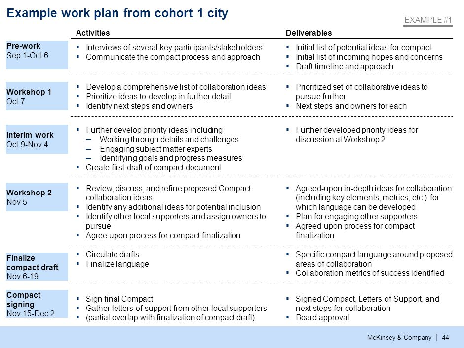 Example work plan from cohort 1 city