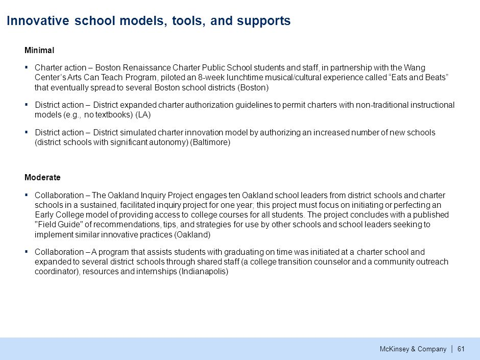 Innovative school models, tools, and supports (cont.)