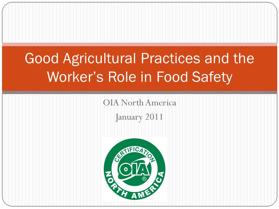 Good Agricultural Practices and the Worker's Role in Food Safety