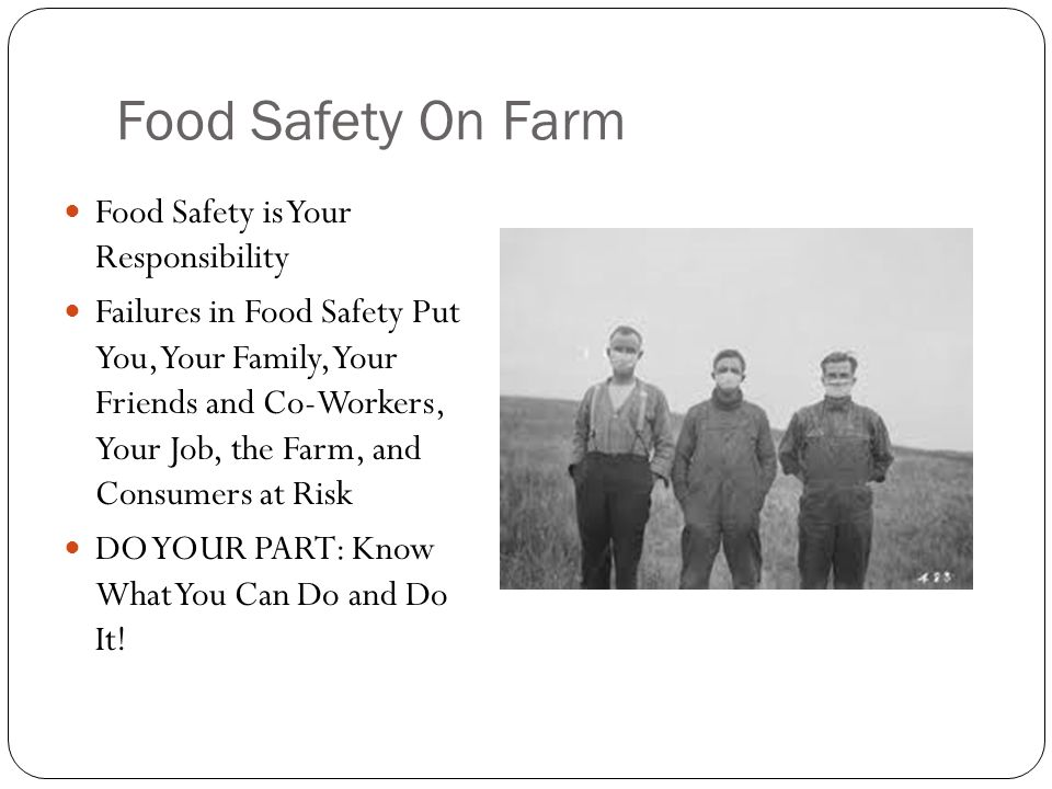 Food Safety On Farm Food Safety is Your Responsibility