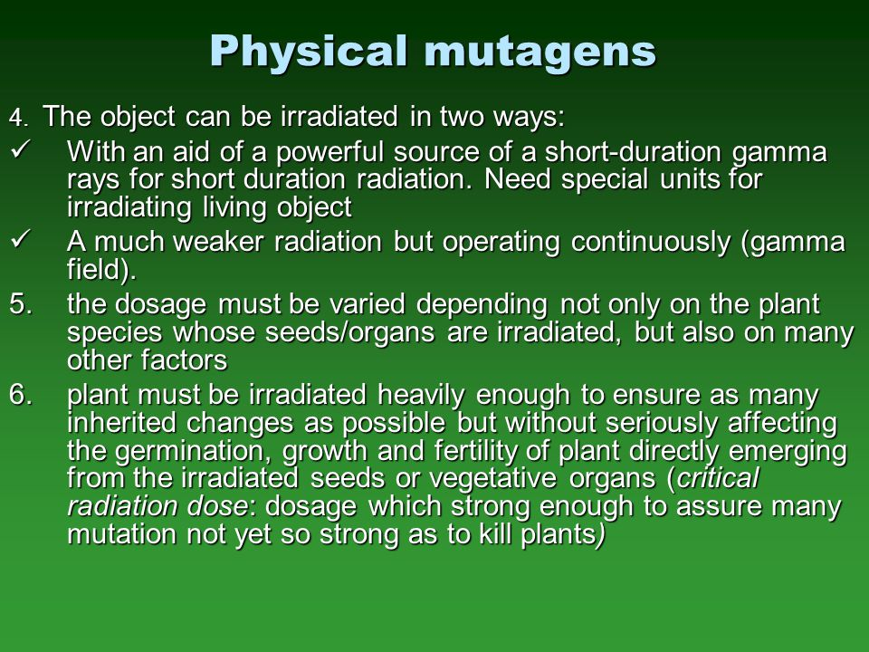 Physical mutagens 4. The object can be irradiated in two ways: