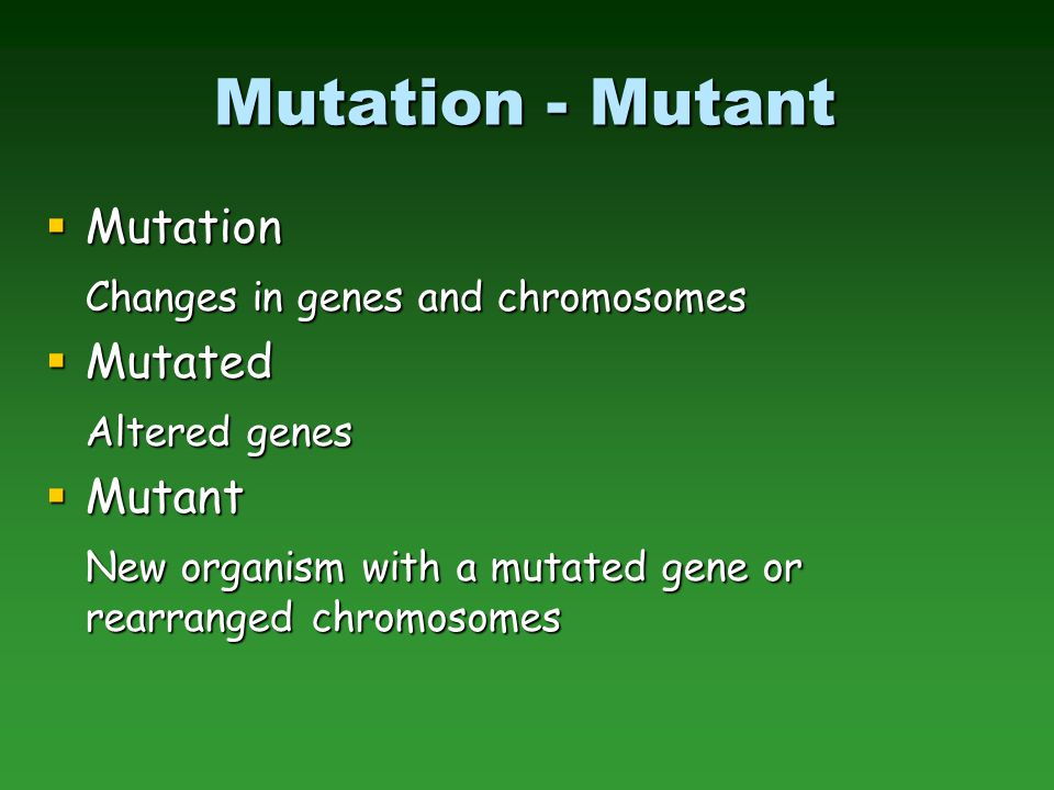 Mutation - Mutant Mutation Changes in genes and chromosomes Mutated