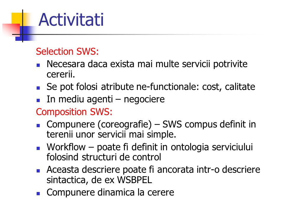 Activitati Selection SWS: