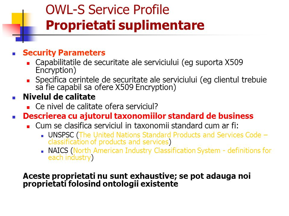 OWL-S Service Profile Proprietati suplimentare
