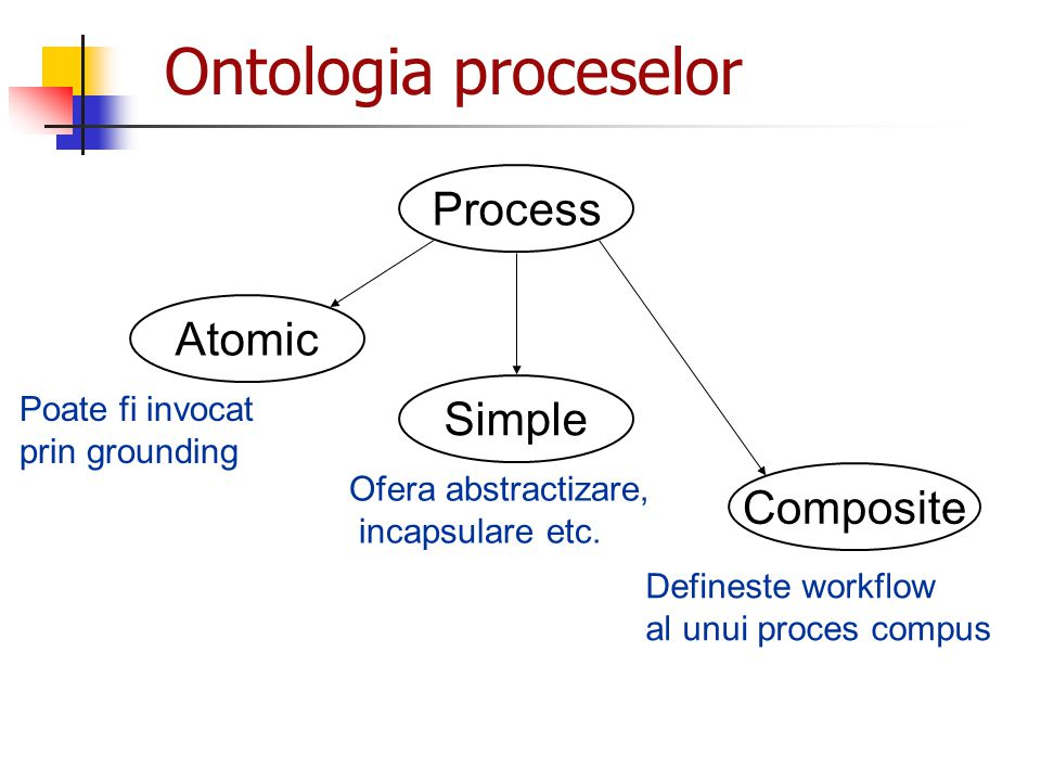 Ontologia proceselor Process Atomic Simple Composite Poate fi invocat
