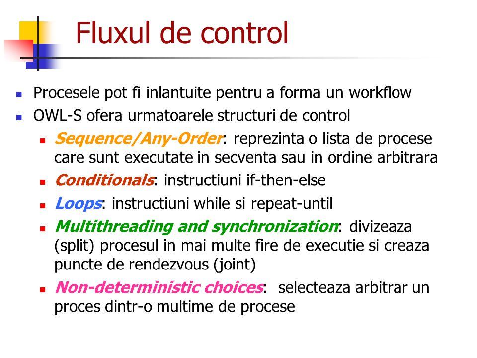 Fluxul de control Procesele pot fi inlantuite pentru a forma un workflow. OWL-S ofera urmatoarele structuri de control.