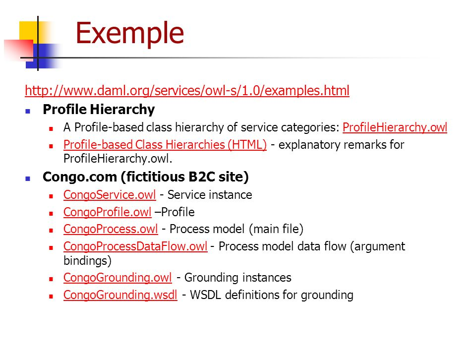 Exemple http://www.daml.org/services/owl-s/1.0/examples.html
