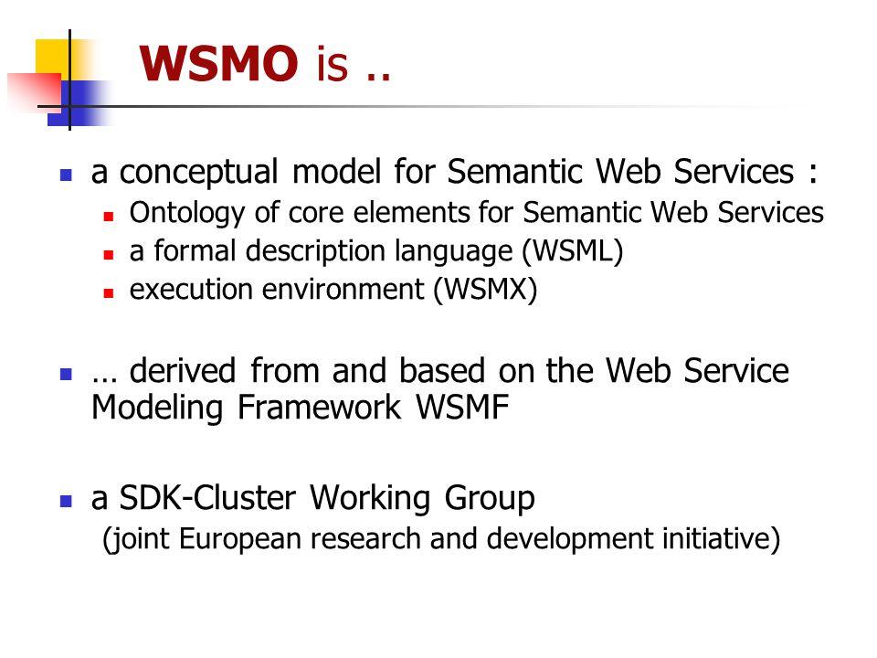 WSMO is .. a conceptual model for Semantic Web Services :