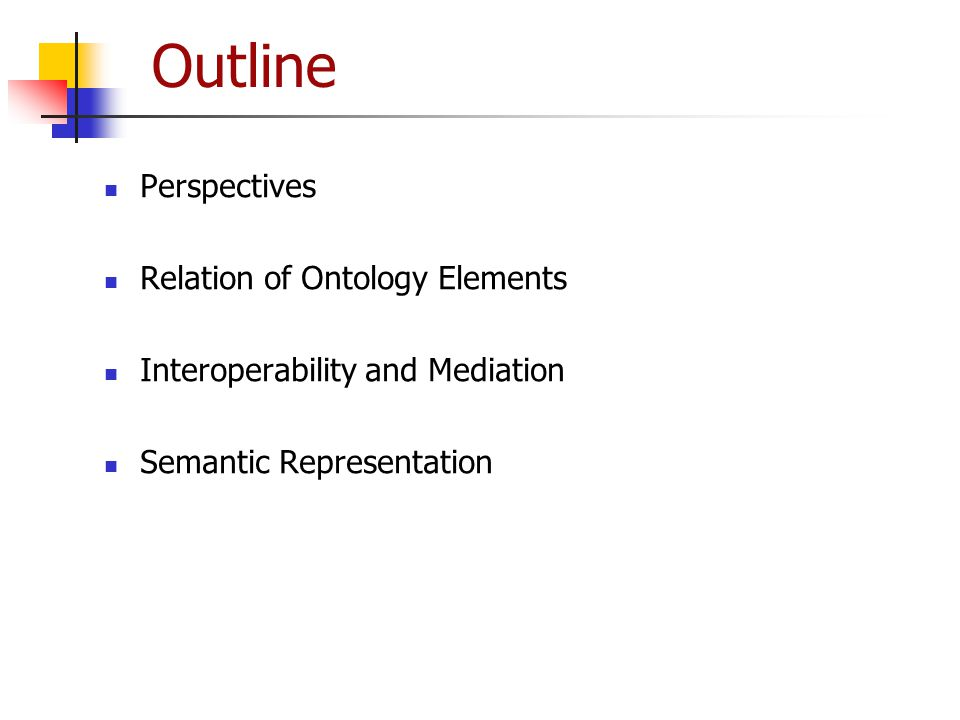 Outline Perspectives Relation of Ontology Elements