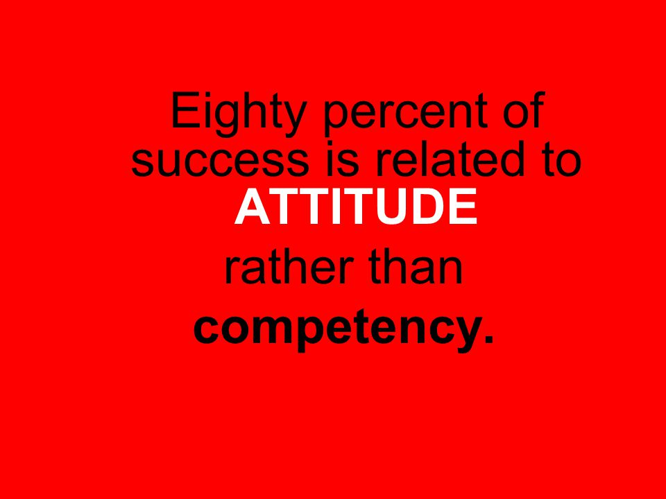 Eighty percent of success is related to ATTITUDE