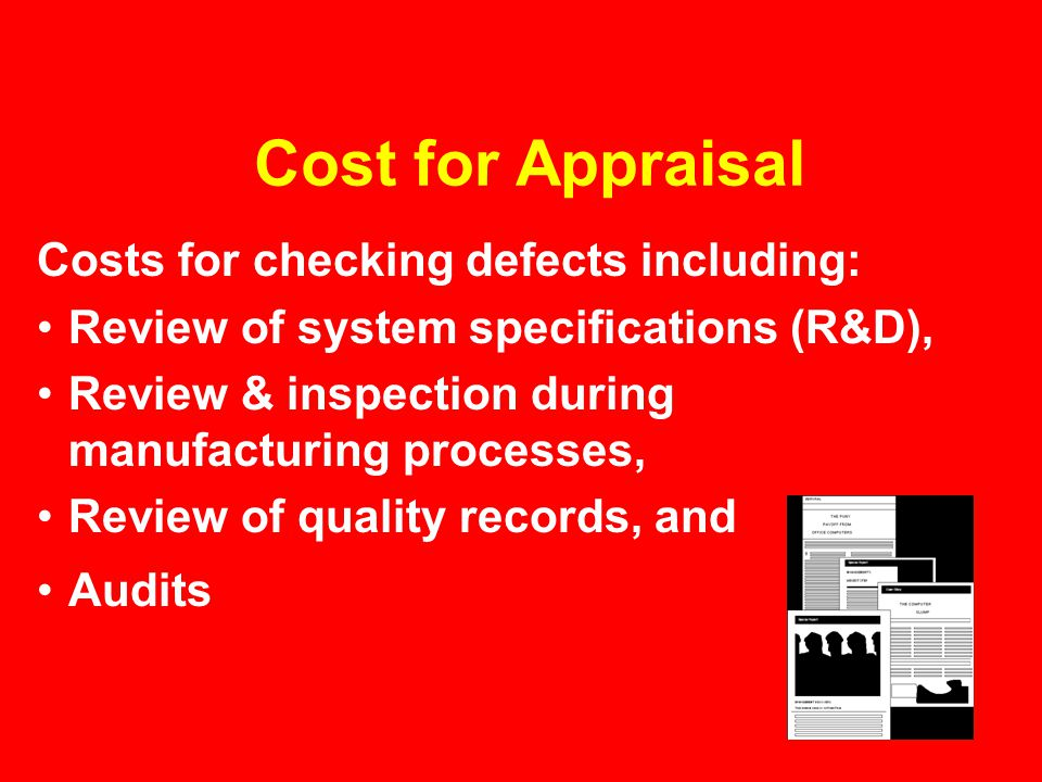 Cost for Appraisal Costs for checking defects including: