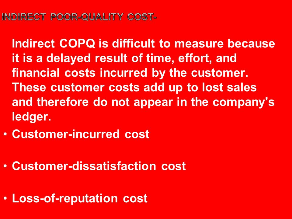 inDirect poor-quality cost-