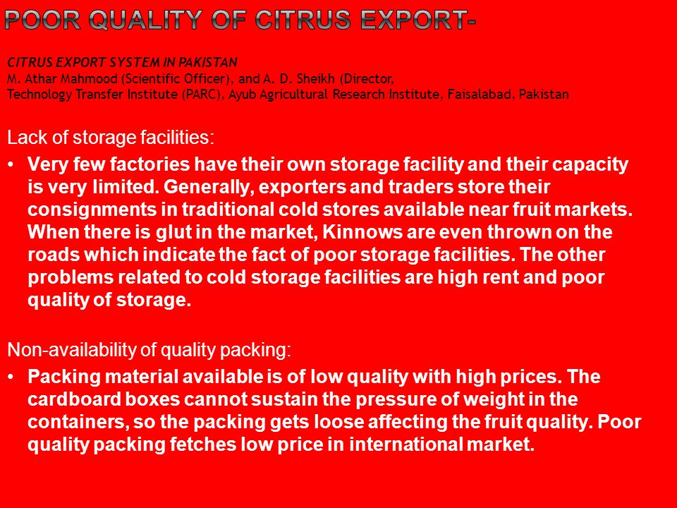 Poor quality of citrus export-