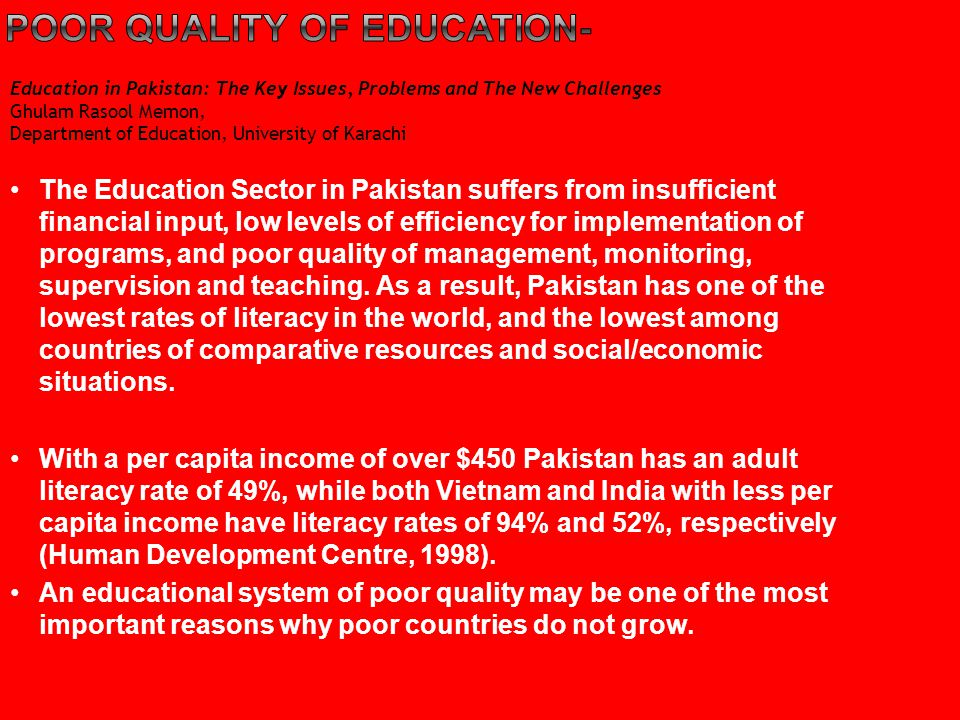 Poor quality of education-