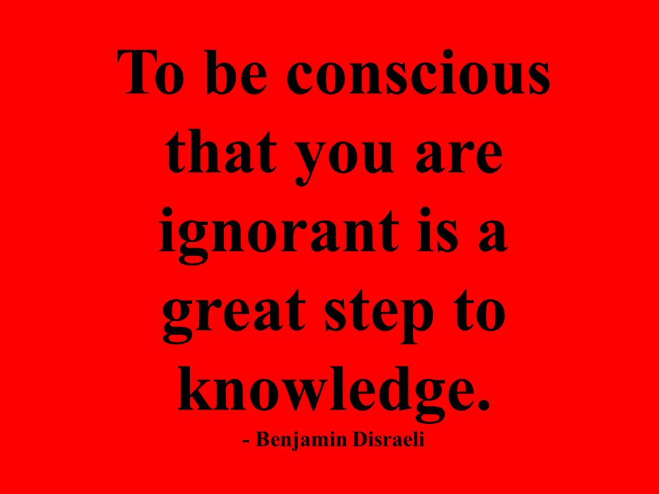 To be conscious that you are ignorant is a great step to knowledge