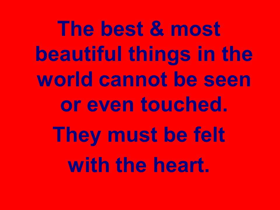 The best & most beautiful things in the world cannot be seen or even touched.