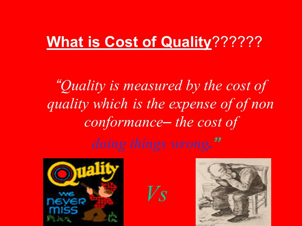 Vs What is Cost of Quality