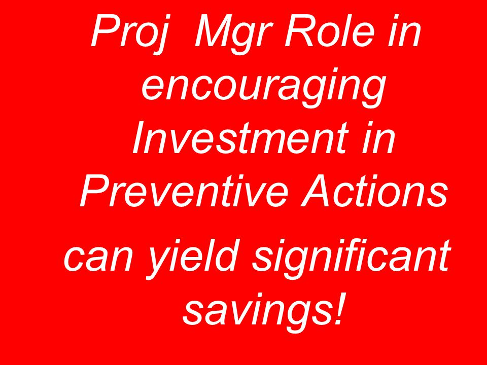 Proj Mgr Role in encouraging Investment in Preventive Actions