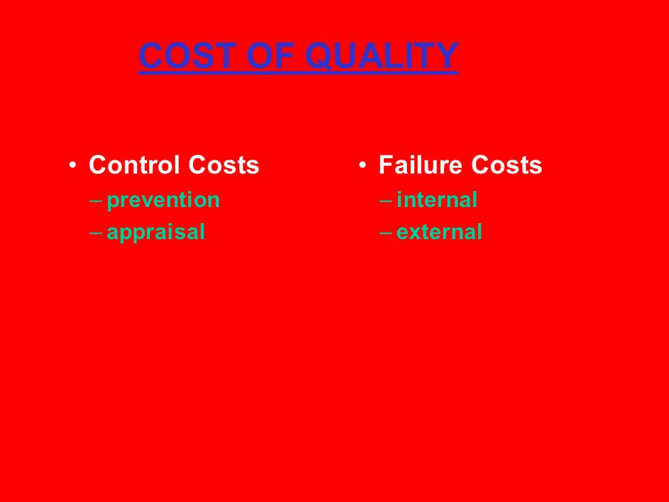COST OF QUALITY Control Costs Failure Costs prevention appraisal