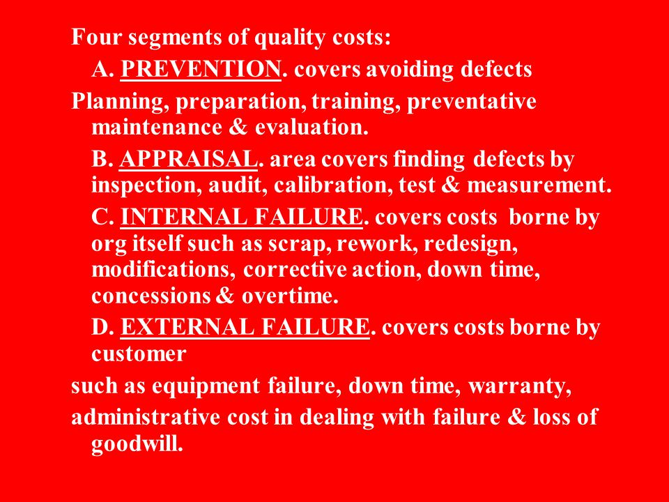 Four segments of quality costs:
