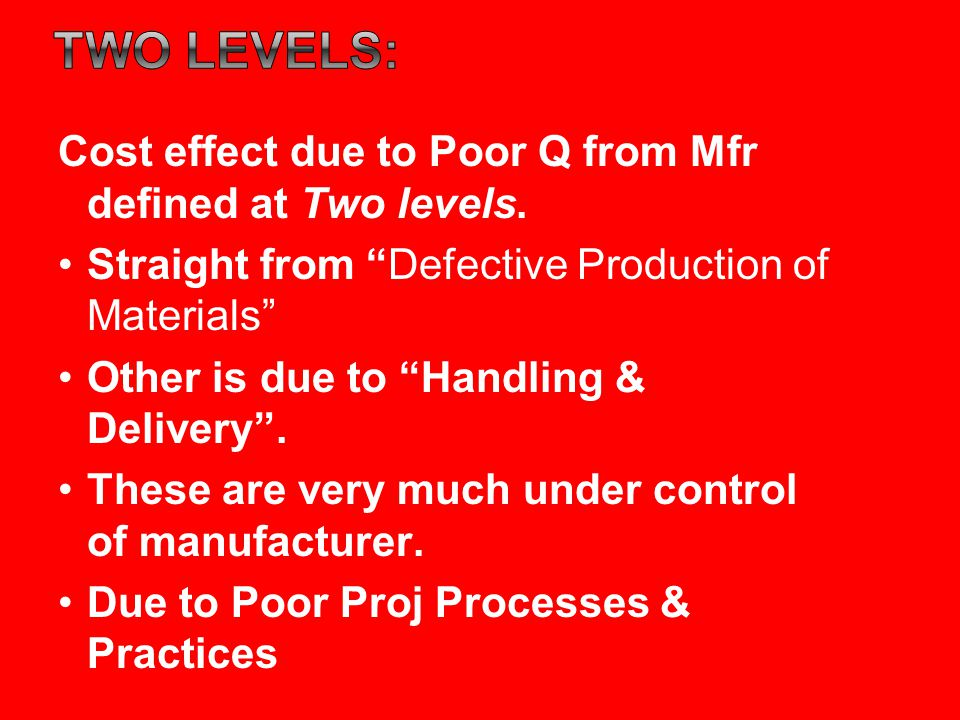 Two levels: Cost effect due to Poor Q from Mfr defined at Two levels.
