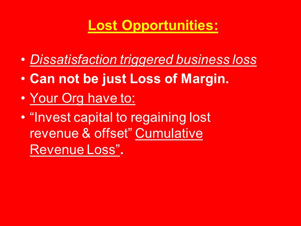 Lost Opportunities: Dissatisfaction triggered business loss