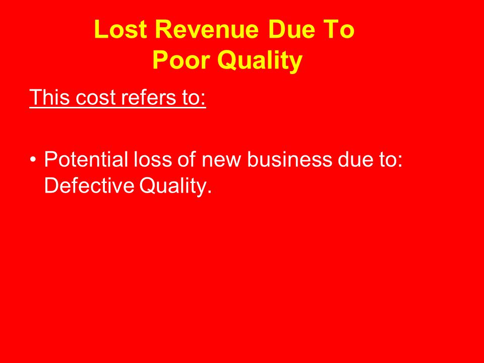 Lost Revenue Due To Poor Quality