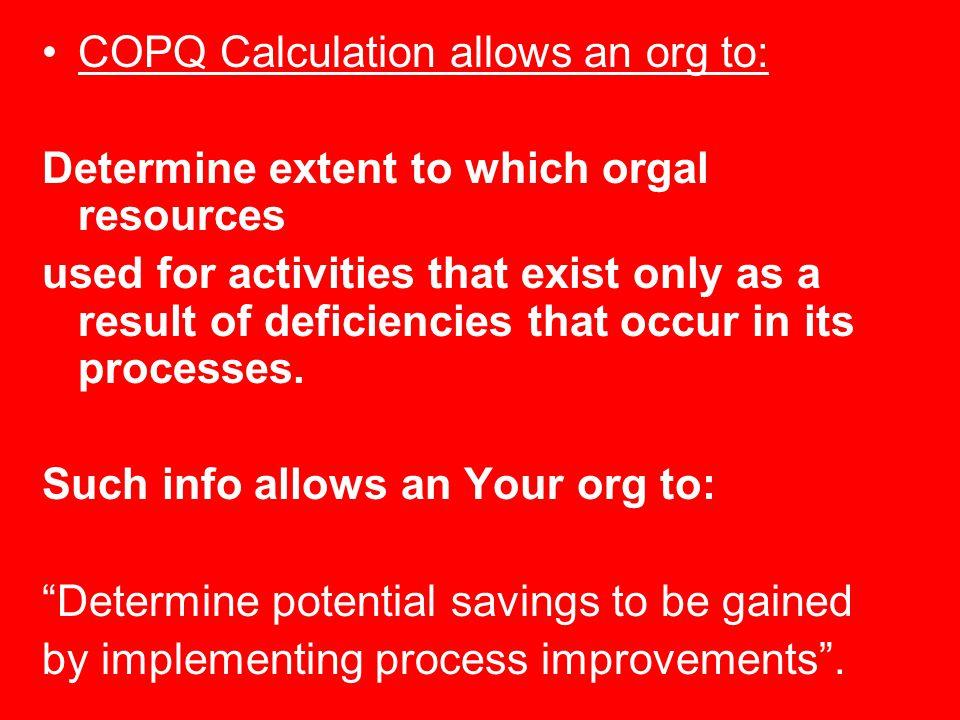 COPQ Calculation allows an org to: