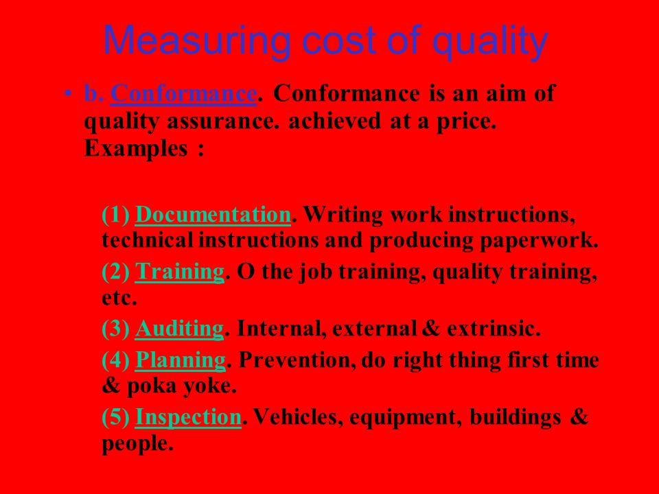 Measuring cost of quality