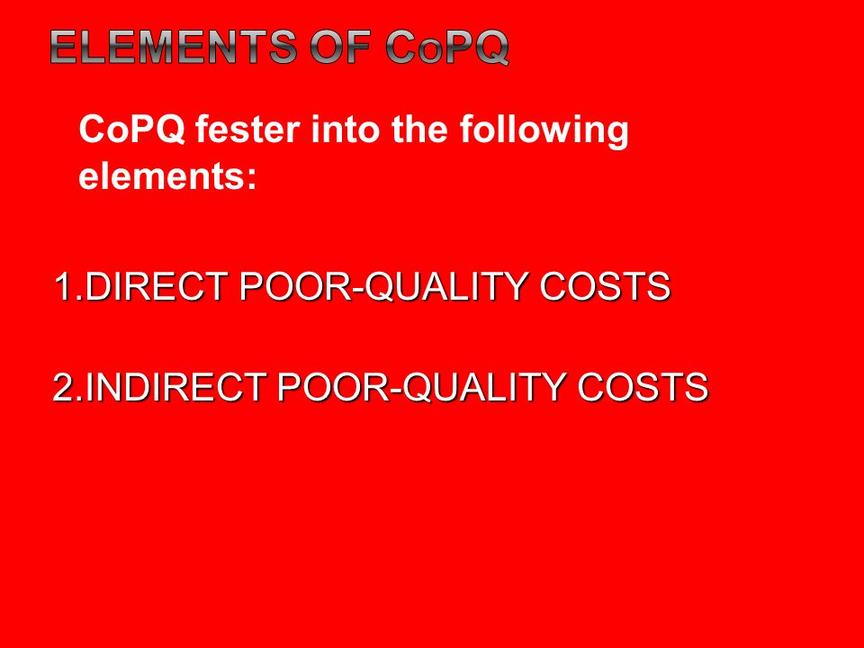ELEMENTS OF COPQ CoPQ fester into the following elements: