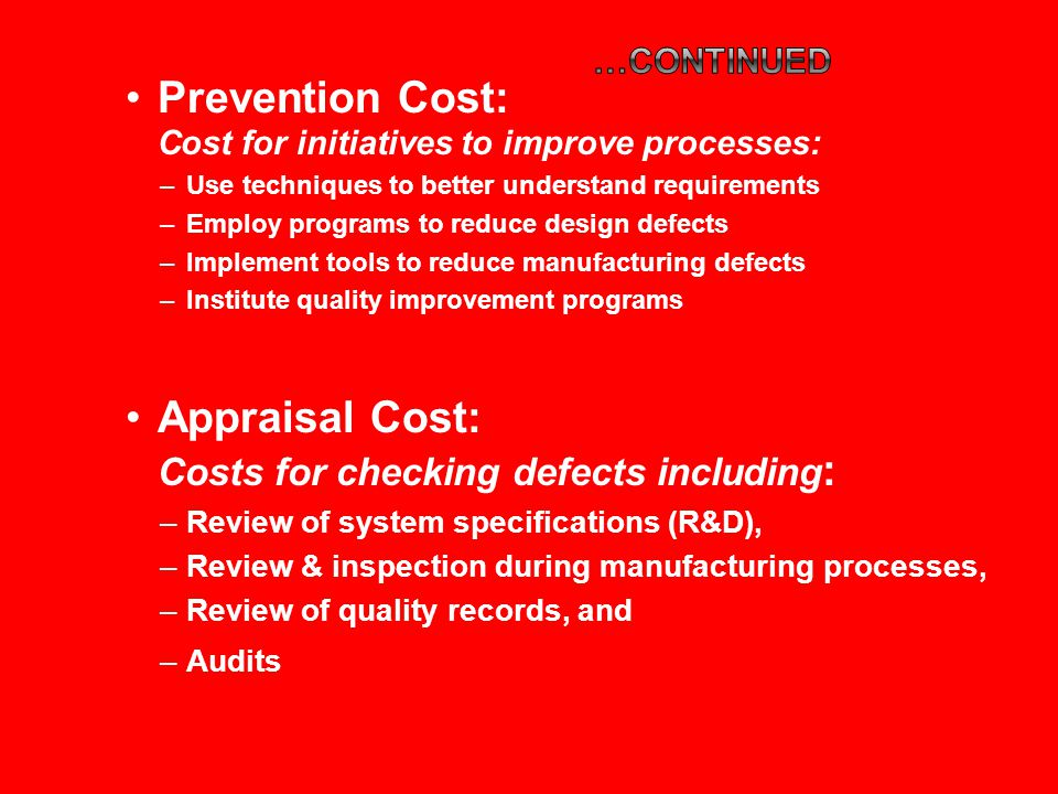 Prevention Cost: Cost for initiatives to improve processes: