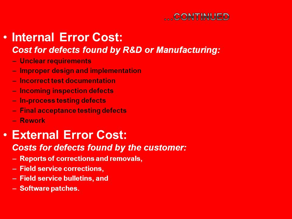 Internal Error Cost: Cost for defects found by R&D or Manufacturing: