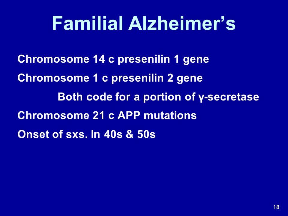 Familial Alzheimer's Chromosome 14 c presenilin 1 gene