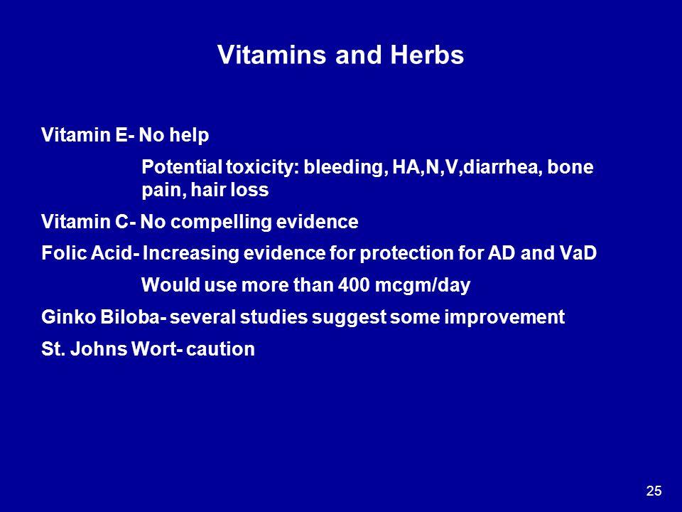 Vitamins and Herbs Vitamin E- No help