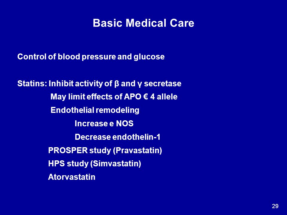 Basic Medical Care Control of blood pressure and glucose