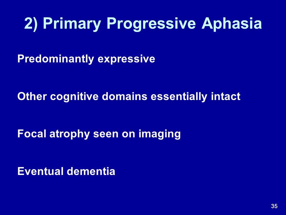 2) Primary Progressive Aphasia