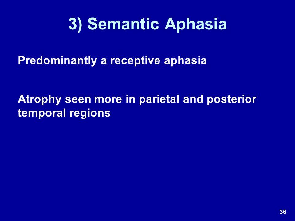 3) Semantic Aphasia Predominantly a receptive aphasia