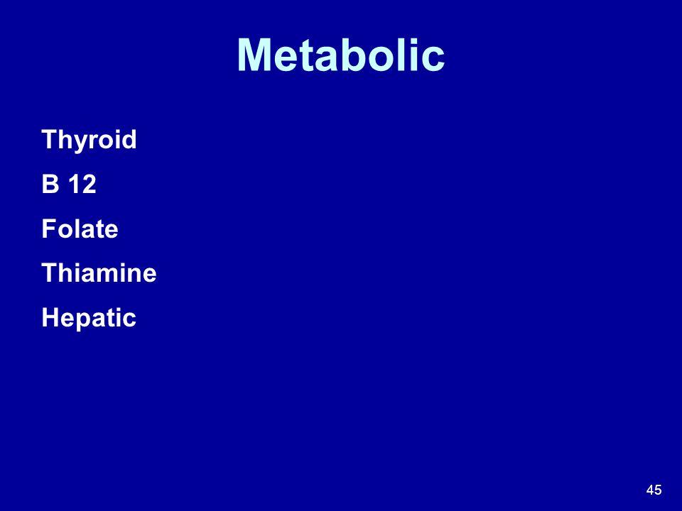 Metabolic Thyroid B 12 Folate Thiamine Hepatic