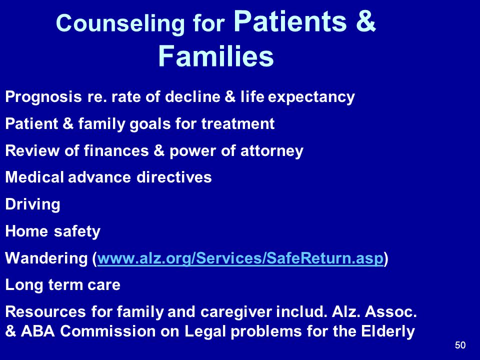 Counseling for Patients & Families