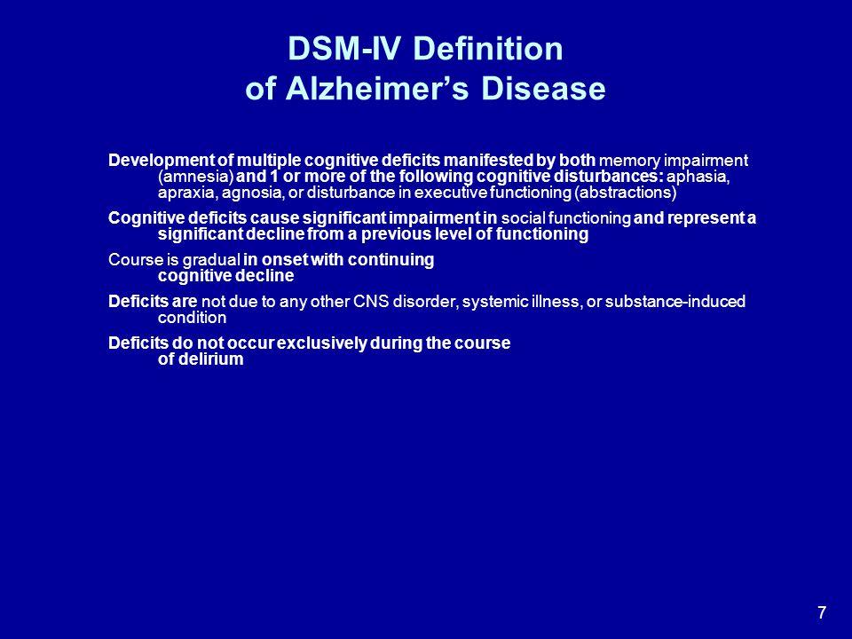 DSM-IV Definition of Alzheimer's Disease