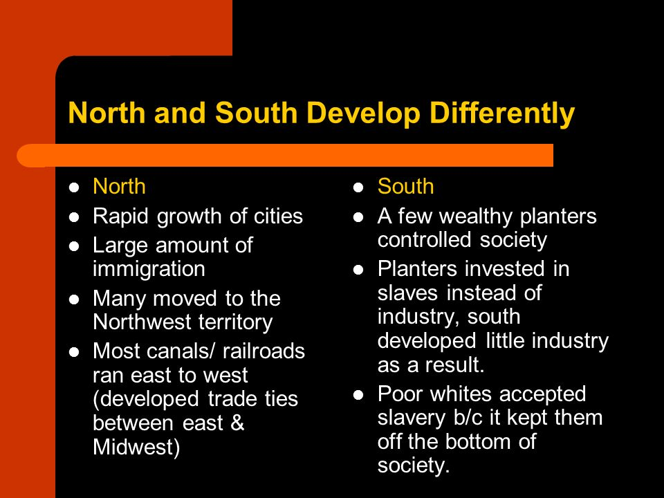 North and South Develop Differently