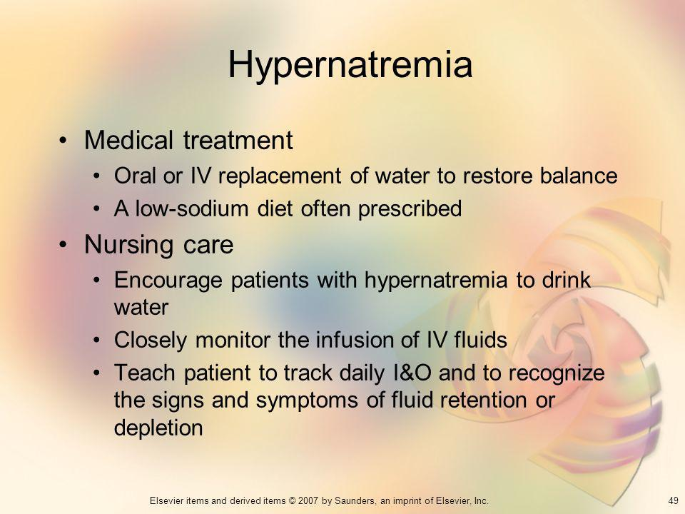 Hypernatremia Medical treatment Nursing care