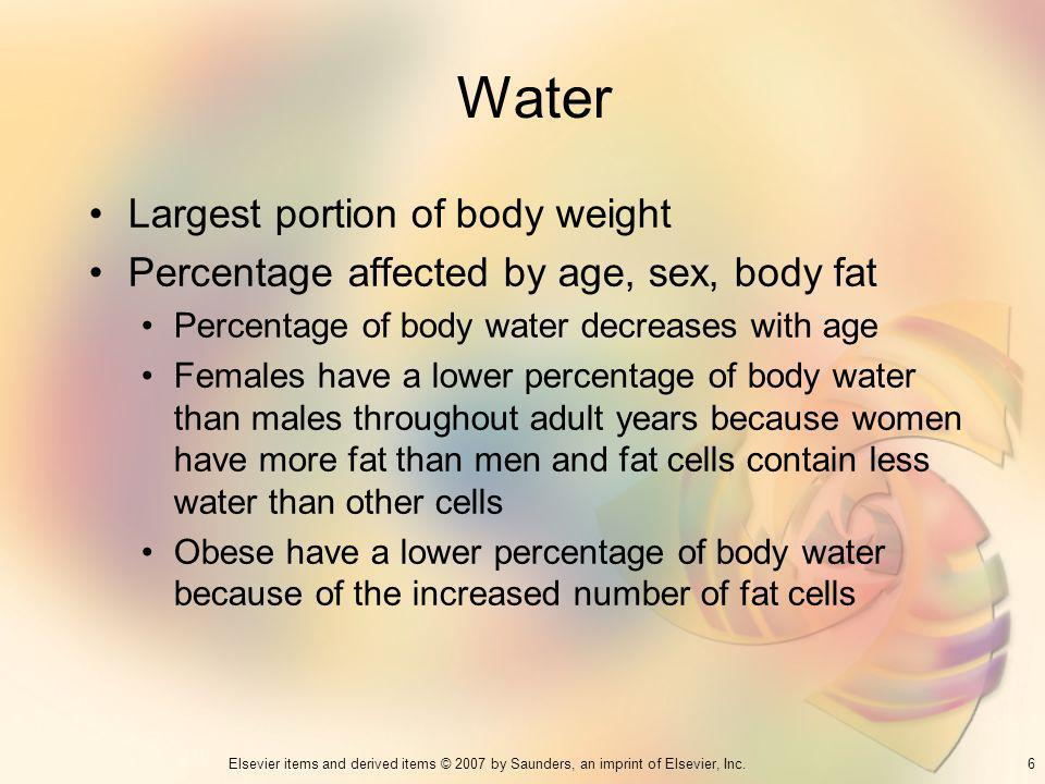 Water Largest portion of body weight